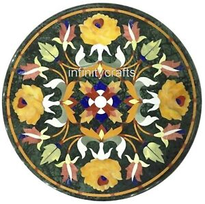 15 Inch Black Marble Coffee Table Top Floral Design Inlaid Corner Table for Home