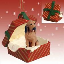 Bloodhound Dog Red Gift Box Holiday Christmas Ornament