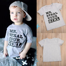 Kids Toddlers Boys Mr Steal Your Girl Summer Tee Tops Short Sleeve T Shirt 1-6Y