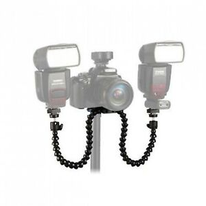 Flexible Arm Dual Clamp Hot Shoe Flash Bracket Holder For Camera New