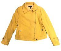 INC International Concepts Yellow Knit Blazer Moto Jacket Lined Women M