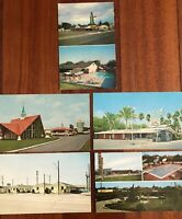 VTG CA Motels Postcards Mac's Steak Murietta Parkway Lodge Merced Howard Barstow
