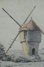 Beau tableau dessin art nouveau Bretagne Paysage moulin Guérande A. Gauret 1900