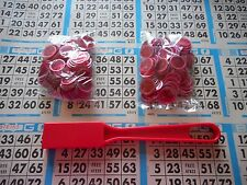 200 RED MAGNETIC BINGO CHIPS WITH A RED MAGNETIC BINGO WAND