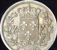 1829-A France Silver 1/2 Franc - KM# 723.1 - VF++ Details - HB