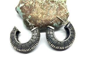 Vintage Solid Designed 925 Sterling Silver Half Hoop Stud Earrings (18.9g)