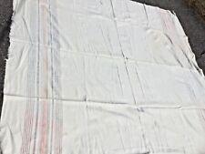 "Antique Homespun Woolen Blanket Loom Woven 74X78"" Pink Red Stripe Band"