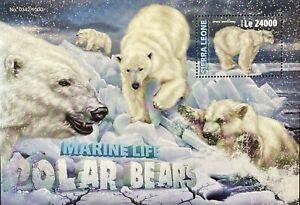 SIERRA LEONE MARINE LIFE POLAR BEARS STAMPS SS 2016 MNH WILD ANIMALS WILDLIFE