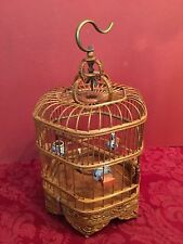 Vintage Miniature Chinese Bamboo Bird Cage Blue White Porcelain Feeders
