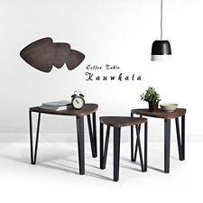 Table 3 Set Nest Tables Wood Coffee End Side Metal Dark Brown Leg Legs