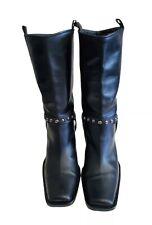 Via Spiga Black Italian Studded Western Boot Mid Calf Square Toe