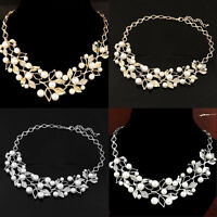 Frauen Strass Perle Kette Collier Statement Kragen Halsband Choker Halskette HOT