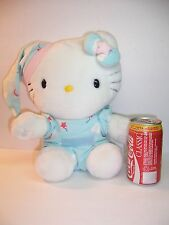 "SANRIO / HELLO KITTY - WHITE PLUSH/ P.J.'S AND NIGHT CAP -  2002 - 12"" TALL  VGC"
