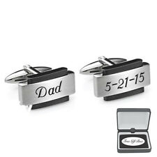 Engraved Brushed Silver & Black Stainless Steel Cufflinks Customized Cuff Links