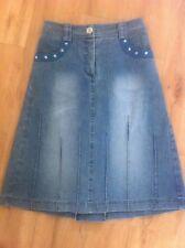 Ladies Vintage 90's Light Blue Denim Skirt Size 7 S. YAROLAN Knee Length A Line