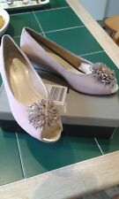 Van Dal ladies shoes..pink suede with silver detailed wedge Size UK 8.E fitting.