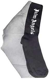 New PALM ANGELS Black/White Knee High Socks Size Small