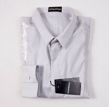 NWT $375 EMPORIO ARMANI Light Gray Slim-Fit Cotton Shirt L Taped Seam Detail