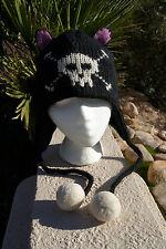 CAT SKULL HAT black knit pink FLEECE LINED Cross bones ADULT animal hat costume