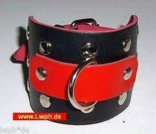 Bracelet Cuir Avec Rivets Décoratifs U D-Anneau Noir Rouge Haut Et Boucle Neuf