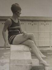 ANTIQUE FLAPPER ERA DECO BATHING BEAUTY POOL ARTISTIC PROFILE FOOT LOVER PHOTO
