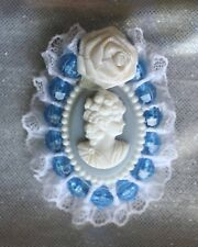 Charming Lace & Plastic Blue & White Cameo Brooch 1980s vintage