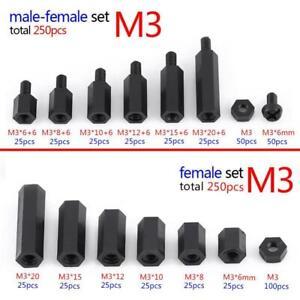 250Pcs Nylon M2 M3 Male Female Hex Column Standoff Spacer Screw Nut Kit Box hon