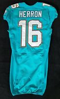 #16 Herron of Dolphins NFL Locker Room Game Issued Jersey w/50th Anv. Patch