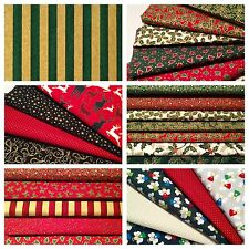 15 Fat Quarters Bundle CHRISTMAS 100% Cotton Fabric Offcuts Scraps Remnants Sew