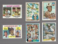 JIM PALMER Baltimore Orioles HOF Star Lot 6 Old vtg orig MLB Cards 1970s 1980s