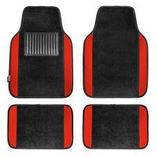 4pcs Set Universal Fit Car Vinyl Heel Pad Carpet Floor Mats Black Red