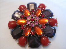 Estate Large Colorful Brooch, Pink, Red, Amethyst, & Orange Colors, Gold-Tone