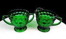 "ANCHOR HOCKING DEPRESSION GLASS BUBBLE GREEN 3 5/8"" CREAMER AND SUGAR BOWL 1934"