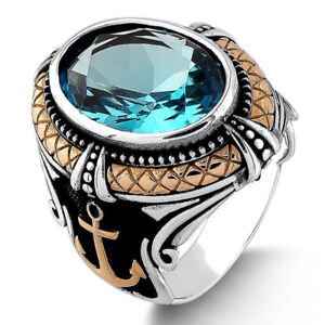 Solid 925 Sterling Silver Anchor Design Aquamarine Stone Men's Ring