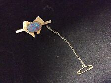 VINTAGE 10 K YELLOW GOLD TIE TACK WITH OPAL
