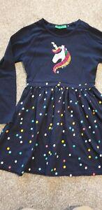 Girls Mountain Warehouse Reversible Sequin Unicorn Spotty Dress 7-8 Years