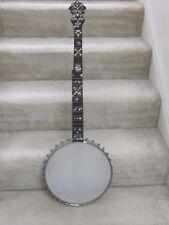 S.S.Stewart Champion 5 string banjo-circa 1895,tons of inlay & carving,nice!!!