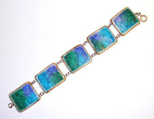 RARE Hand Made MID CENTURY Modernist FUSED CRACKLE GLASS Ceramic Tile BRACELET