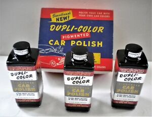 NOS 1940's DUPLI-COLOR PIGMENTED BLACK CAR POLISH WAX STORE DISPLAY GARAGE ART