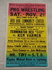 Vintage Great American Wrestling Federation Event Poster (Terminator Rex)