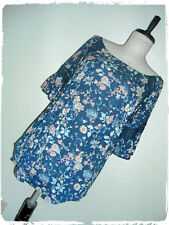 b1ecd75ee6769 Eden   Olivia Bohemian Boho Navy Floral Lace Accent Peasant Style Blouse 2X