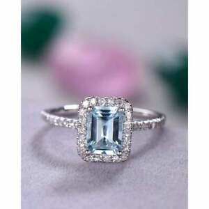 2 CT Emerald Cut Natural Aquamarine Ring,14k Solid Gold Wedding/ Engagement Ring