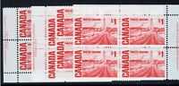 Canada 1967 Sc #465Biv $1 Centennial Plate 2 PVA PLATE BLOCK Matched Set VF