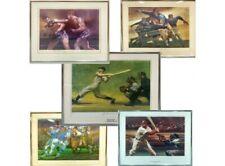(5) Signed # Auto Framed Prints DiMaggio / Grange / Joe Louis / Unitas / Musial
