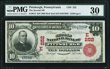 $10 1902 Red Seal Fr. 613 The Second NB of Pittsburgh Pennsylvania 252 PMG VF 30