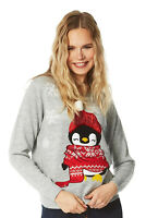 Roman Originals Women Sequin Penguin Fluffy Christmas Jumper