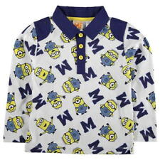 BOYS MINIONS CHARACTER POLO NECK TOP L/S SHIRT (AGE 5-6 YEARS) RRP £12.99 - NEW