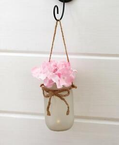 Mason Jar Pink Hydranga Wall Sconce