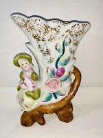 Antique Vintage Porcelain  Ceramic Vase Cornucopia/Boot Girl W/ Pink Flowers