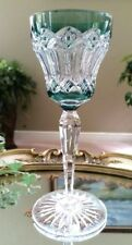 RARE Vintage VAL ST LAMBERT Green Cut to Clear Crystal Wine Goblet, Excellent!